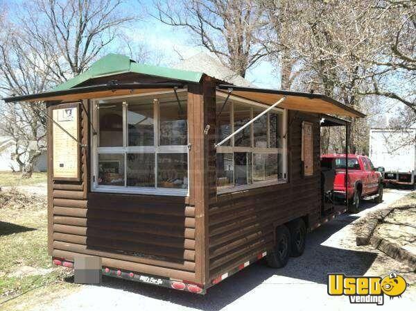 28 Custom Built Log Cabin Style Bbq Concession Trailer